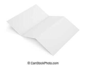 Una maqueta de libretas blanca plegada en blanco. Libreta de plantilla vacía para tu diseño. 3D.