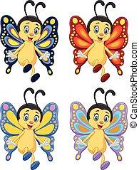 Una mariposa de colección de dibujos animados