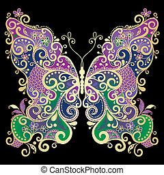 Una mariposa de color de oro