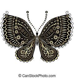 Una mariposa de oro negro de fantasía