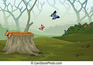 Una mariposa divertida en el bosque profundo