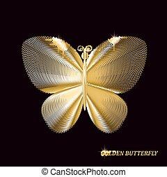 Una mariposa dorada en el fondo negro. Ilustración de vectores.