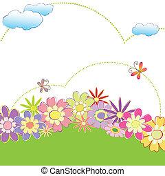 Una mariposa floral de color primavera