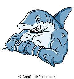 Una mascota fuerte de tiburón