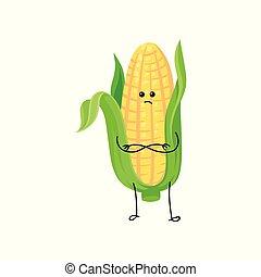 Una mazorca de maíz con maíz amarillo y hojas verdes de dibujos animados vector de ilustración