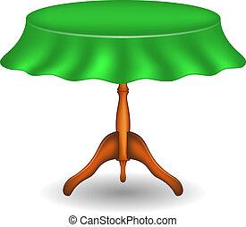 Una mesa redonda con mantel