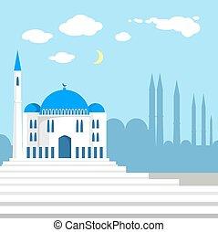 Una mezquita en el fondo de las siluetas islámicas de la ciudad.