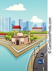 Una mezquita en la ilustración de la ciudad