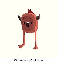 Una monada de dibujos animados de monstruo marrón con un gracioso vector de ilustración facial en un fondo blanco