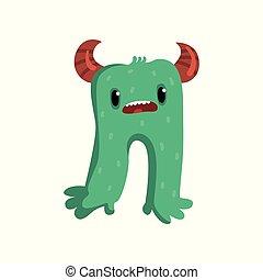 Una monada de dibujos animados, un monstruo verde con un gracioso vector de ilustración en un fondo blanco