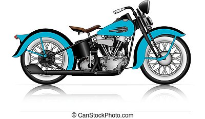 Una motocicleta clásica azul