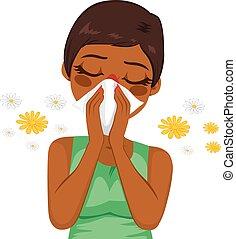 Una mujer afroamericana que sufre alergia