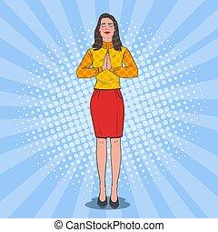 Una mujer alegre y alegre rezando. Feliz oración femenina. Ilustración de vectores