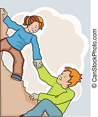 Una mujer ayudando al hombre a trepar por un precipicio