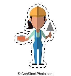 Una mujer caricaturista con ladrillo y espátula