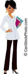 Una mujer con el abrigo blanco del doctor