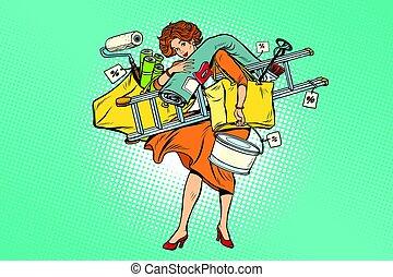 Una mujer con herramientas de reparaciones