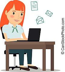 Una mujer con ordenador portátil enviando emails