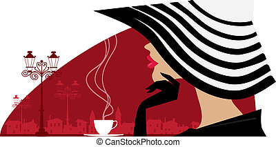 Una mujer con un gran sombrero en el café