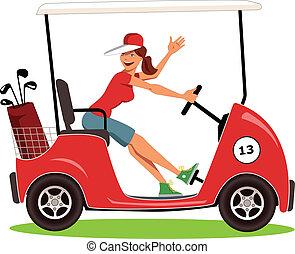 Una mujer conduciendo un carrito de golf