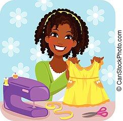 Una mujer cosiendo un vestido