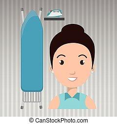 Una mujer de dibujos animados planchando ropa