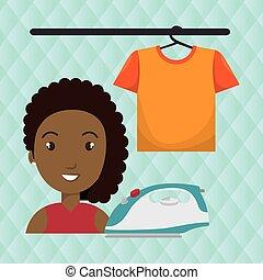 Una mujer de dibujos animados que plancha la camiseta