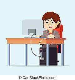 Una mujer de negocios estaba en su escritorio