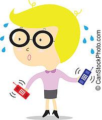 Una mujer de negocios ocupada con teléfono