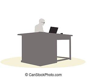 Una mujer de negocios sentada en un escritorio