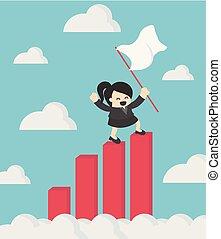 Una mujer de negocios sosteniendo bandera de éxito parada en la cima de Growth Chart