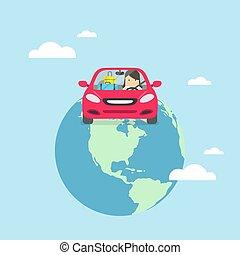 Una mujer de negocios viaja por todo el mundo en coche.