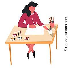 Una mujer dibujando con lápices pasatiempo y actividad de ocio artístico