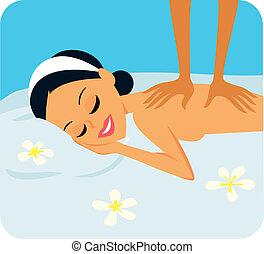 Una mujer en tratamiento de spa