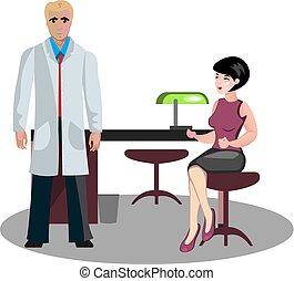 Una mujer en una recepción con un médico