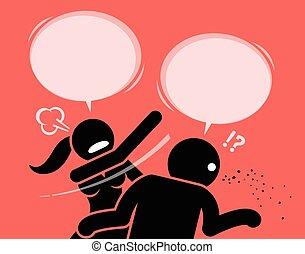 Una mujer enojada abofeteando a un hombre por ser grosero e insultante.