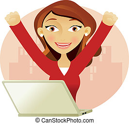 Una mujer exitosa en una laptop