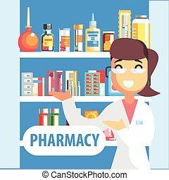 Una mujer farmacéutica que enseña drogas en el estante de la farmacia