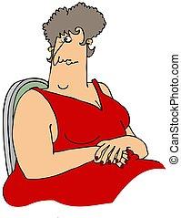 Una mujer grande con un vestido rojo