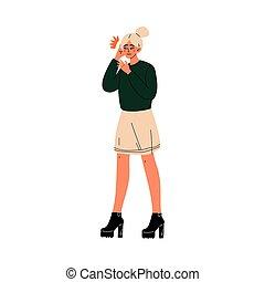 Una mujer joven sosteniendo sus manos en su oído, dolor de muelas o dolor de cabeza, chica sintiendo dolor en el cuerpo causada por enfermedad o ilustración de vector de lesiones