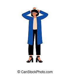 Una mujer joven sosteniendo sus manos sobre su cabeza, migraña, dolor de cabeza, niña sintiendo dolor en su cuerpo causado por enfermedad o ilustración vectorial de lesiones