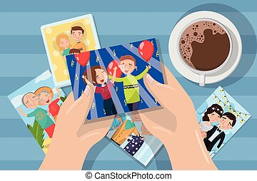 Una mujer mirando fotos en una taza de café, manos con vector de imágenes familiares elemento de ilustración para diseño y telaraña