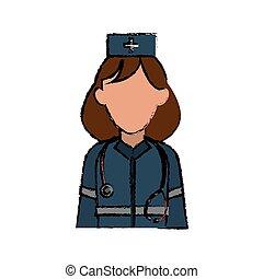 Una mujer paramédica de dibujos animados ayuda urgente a usar estetoscopio uniforme