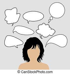 Una mujer pensante con muchas ideas