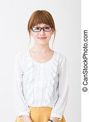 Una mujer que llevaba gafas