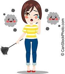 Una mujer que sufre alergia al polvo