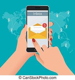 Una mujer recibió un e-mail en línea en un teléfono móvil. Mensaje en línea entrante concepto de vector de correo electrónico isometrico. Recibiendo mensajes
