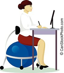 Una mujer se sienta en el gimnasio en el trabajo