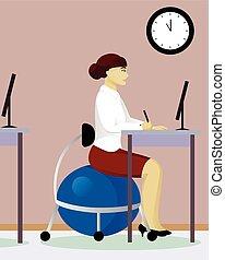 Una mujer se sienta en Fitball en la oficina