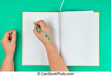 Una mujer sosteniendo un bolígrafo, cerca de un cuaderno abierto en una celda
